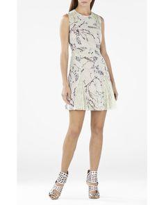 Bcbg Maxazria Gwenyth Blocked Sleeveless Flared Skirt Dress PEI63D31-3R5