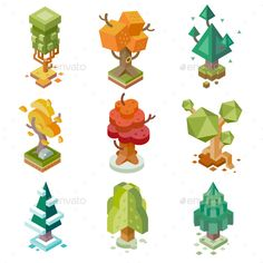 Creative Trees Isolated.