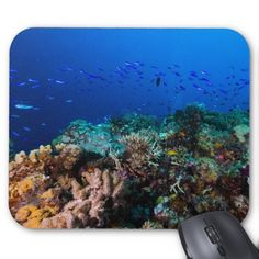 Mousepad featuring abundant schools of colorful tropical fish swimming over the amazing coral formations on Australia's Great Barrier Reef. #coral #reef #ocean #sea #diver #tropicalfish #greatbarrierreef #coralsea #coralreef #nature