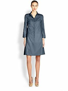 Akris Punto Perforated Cotton Collared Dress.  The pleating on the back of this dress makes it stunning.