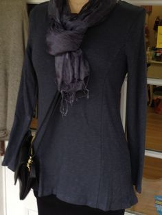 tunic length shirt with a beautiful shape shows your curves but isn't clingy a wardrobe basic