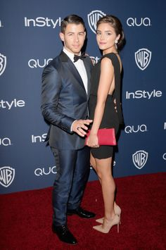 Nick Jonas & Olivia Culpo | This blue tux with the slicked back hair is young and fresh and perfect.