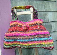 Funky Blossom Bag - using Noro Blossom Girls Sweaters, Knit Crochet, Purses, Knitting, Bags, Women, Fashion, Handbags, Handbags