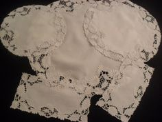 Vintage 6 Piece Set LINEN White  Embroidered by InVintageFashion, $28.00