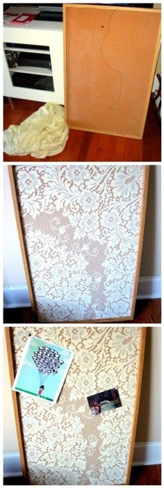 I made this lace memo board. It's my favorite thing in my office.