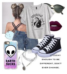"""Untitled #809"" by natsuko-yuuki on Polyvore featuring Lime Crime, Ray-Ban, H&M and Casetify"