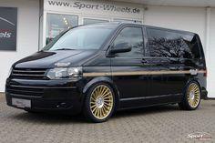"""Auto Tuning Galerie Volkswagen T5 - VW Bus T5 Facelift - 20"""" Etabeta Venti-R - Alufelgen: Etabeta Venti-R Gold Matt Polish - VA 9.0 x 20"""" mit 275/35/20 HA 9.0 x 20"""" mit 275/35/20 Fahrwerk: Luftfahrwerk Sonstiges: Fahrwerk: Park-Level - Bild ID 10477"""