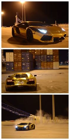 #VIDEO Gold Aventador Joyride! If I had all the money they have I would be doing this every day... #insane #spon