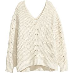 Oversized Sweater $29.99 (€25) ❤ liked on Polyvore featuring tops, sweaters, sweatter, oversized white sweater, oversized knit sweaters, loose fitting sweaters, over sized sweaters and low v neck sweater