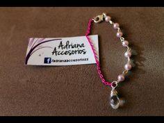 Pulsera rosa con perlas y cristal