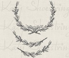 Vintage Wreath and Branches Illustration Download and Print Digital Sheet Image Transfer INSTANT DOWNLOAD