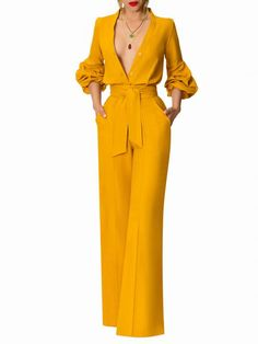 """Melrose"" Mango Button-Down Jumpsuit Classy Dress, Classy Outfits, Chic Outfits, Dress Outfits, Suit Fashion, Look Fashion, Fashion Dresses, Mode Outfits, Jumpsuits For Women"