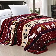 BOON Light Weighted Christmas Collection Printed Flannel Fleece Blanket Burgundy Christmas Deer (Queen)
