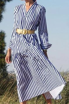 2021 Women Casual Blue Striped Sashes Dress Lady Long Sleeve Turn-Down Collar A-line Dress Vintage Elegant Autumn Women Dresses Long Sleeve Midi Dress, V Neck Dress, Long Fall Dresses, Dress Sash, Cheap Dresses, Midi Dresses, Dress Brands, Striped Dress, Vintage Dresses