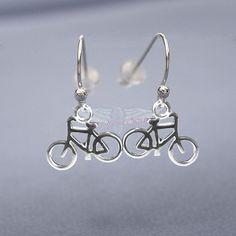 3-D Bike Earrings. Light weight, sterling silver. Enjoy the Ride http://www.liftyoursole.com/collections/triathlon-earrings