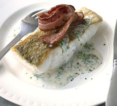 I call this dish the Jackson Pollack with parsley sauce & crisp bacon