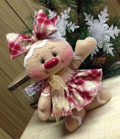 Primitive HC Raggedy Gingerbread Snowman Snow Girl Snowflake Christmas Doll #IsntThatCute #Christmas