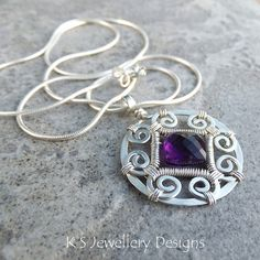Amethyst Spiral Circle Frame Sterling Silver Pendant (KS40) | by KSJewelleryDesigns