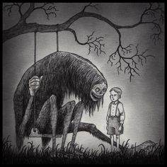 Scary Art, Creepy, Don Kenn, Monster Drawing, Arte Horror, Art Inspo, Amazing Art, Cool Pictures, Moose Art