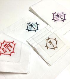 NEW! Winslow Monogrammed Hemstitch Linen Napkins-Cocktail Napkins-Guest Towels.