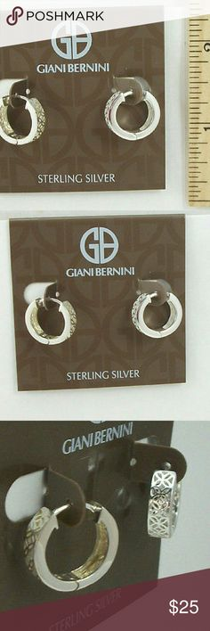 Auth Giani Bernini SS FILIGREE Thick Higgies GIANI BERNINI Sterling Silver Filigree Thick Cut Out Hoop Huggie Earrings $70 plus tax Had to take Bloomingdale return label off due to buyers buying from me & returning to store to get full price gift cards :( Brand new with tags SOLID sterling silver  No trades please Giani Bernini Jewelry Earrings