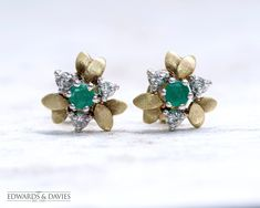 Diamond Emerald Stud Leaf Earrings   Yellow Gold Emerald Studs   Antique Earrings   Antique Jewelry   Antique Jewellery  Vintage Leaf Stud Antique Earrings, Antique Jewellery, Vintage Jewelry, Antique Items, Vintage Items, Set Up An Appointment, Selling Antiques, Look Vintage