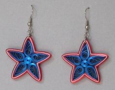 Quilled Earrings Stars and Stripes Red White by BarbarasBeautys, $14.00
