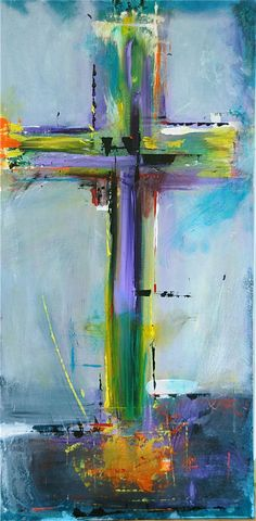 CROSS On Blue - Original Abstract Acryllic painting on canvas