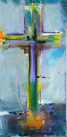Cruz en azul Original pintura abstracta acrílico por LivsGlad