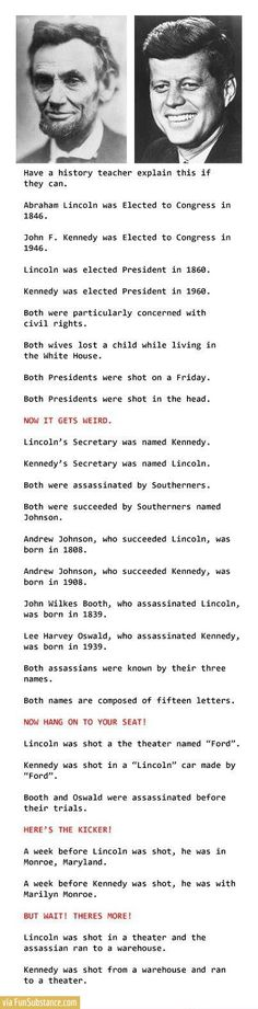 Mind blowing coincidences on Lincoln\'s and Kennedy\'s murder - FunSubstance.com