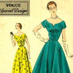 Vintage 50s Vogue S 4382 Cocktail Dress Pattern Low Surplice... | review | Kaboodle