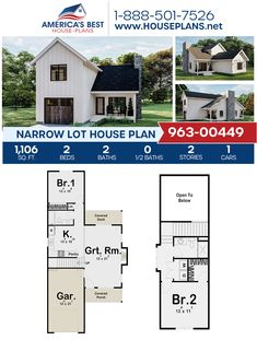 Well suited for a Narrow Lot, Plan 963-00449 offers 1,106 sq. ft., 2 bedrooms, 2 bathrooms, an open floor plan, and a 1 car garage. #narrowlot #narrowhouse #openfloorplan #twostoryhome #architecture #houseplans #housedesign #homedesign #homedesigns #architecturalplans #newconstruction #floorplans #dreamhome #dreamhouseplans #abhouseplans #besthouseplans #newhome #newhouse #homesweethome #buildingahome #buildahome #residentialplans #residentialhome Narrow Lot House Plans, Narrow House, Best House Plans, Dream House Plans, Thing 1, Covered Decks, Two Story Homes, City Living, Open Floor