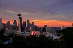 Seattle Dawn from Kerry Park (With Mt. Rainier in the background) by NW Vagabond, via Flickr