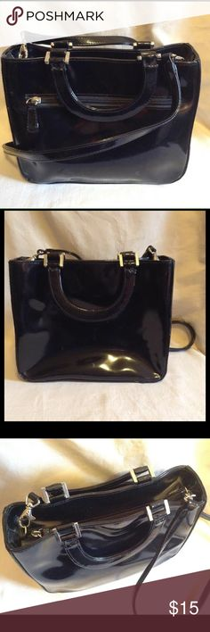 Bebe patent leather bag With top handles and removable shoulder strap. bebe Bags Shoulder Bags