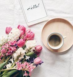 Imagem de flowers, coffee, and hello