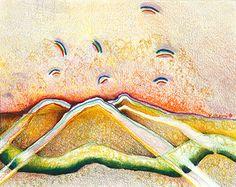 "Flying Rainbow-print by M. Kolsoum Ginney mixed media ~ 11"" x 14"""