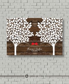 Articles similaires à Guest Book - Wood Wedding Guest Book 220 Signatures - Wedding Tree Gift - Guest Book Print - Wood Wedding Bridal Shower Gift - Art - Print sur Etsy