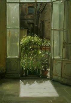 Morning Light, by Simon Pasini Window View, Open Window, Gravure Illustration, Illustration Art, Illustrations, Light Painting, Painting & Drawing, Through The Window, Italian Artist
