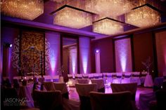 LED Up Lighting on the walls.  There is also a gobo decorative image design at the entry way of the ballroom.  A nice decorative touch!