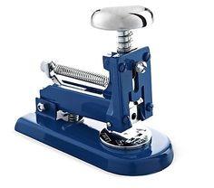 "Everyone needs ""three stapling modes"" for this blue, nautical stapler! From El Casco"