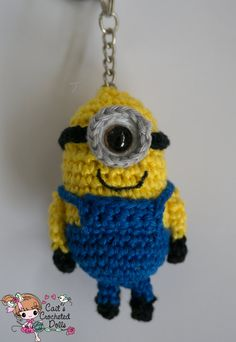 Crocheted Despicable Me Minion keychain by CaitsCrochetedDolls