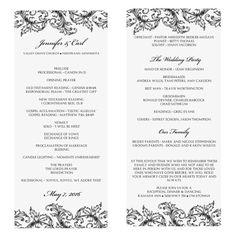 wedding program template instant download edit yourself nadine