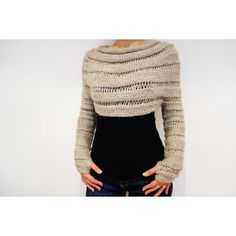 PDF Knitting Pattern Oatmeal Cropped Thumb Hole Sweater/ Chunky Knit... ($5.90) ❤ liked on Polyvore featuring tops, sweaters, knit crop top, cropped sweater, crop top, ribbed crop top and knit sweater