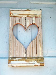 Reclaimed Wood Pale Peach Wall Heart