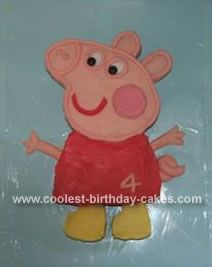 Homemade Peppa Pig Birthday Cake: I made this Peppa Pig Birthday Cake for my daughter's 4th birthday. I found a picture of Peppa Pig on the ABC website and blew it up.  I then made a rectangular