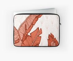Hand-drawn banana leaves, turn into a red vector illustration on vintage pattern background. From ink pen hand drawing by DesigndN. Inspired by my granny's living room. • Also buy this artwork on phone cases, apparel, stickers, and more.