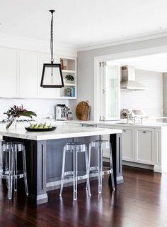 Kitchen Pass Through to Outdoor Kitchen - Transitional - Kitchen Outdoor Kitchen Countertops, Concrete Countertops, Kitchen Tiles, Kitchen Pass, New Kitchen, Outdoor Kitchen Design, Transitional Kitchen, White Marble, Home Decor