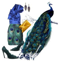"""""""peacock"""" by live-ska ❤ liked on Polyvore featuring Yves Saint Laurent, N°21, Balenciaga and Freida Rothman"""