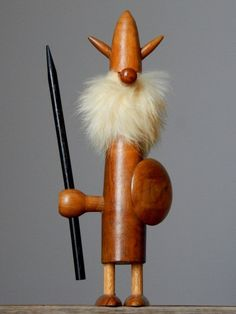 Vintage Mid-Century DANISH Teak Wood Viking Figurine Fur Beard Scandinavian Art