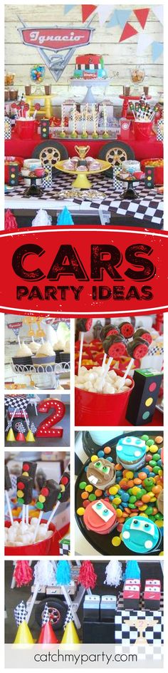 Calling all Disney Cars fans. You do not want to miss this awesome birthday party!! The dessert table is so much fun. Any young boy's dream! See more party ideas and share yours at CatchMyParty.com